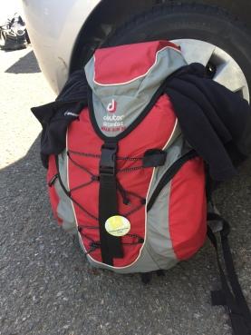 Rucksack mit Wanderbutton