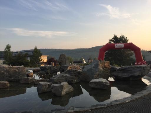 Der Musikbrunnen am frühen Sonntagmorgen